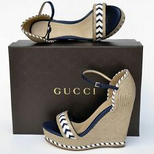 GUCCI New sz 38 8 Designer Platform Wedge Heels Womens Sandals Shoes Espadrille