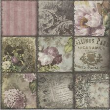 2 Serviettes en papier Décor Fleuri Rose - Paper Napkins Vintage Collage Paris