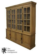 Restoration Hardware French Casement 4 Door Sideboard & Hutch China Cabinet Oak