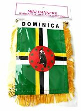 DOMINICA MINI POLYESTER INTERNATIONAL FLAG BANNER 3 X 5 INCHES