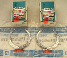 NEW OEM CADILLAC ROOF CREST & WREATH EMBLEM SET 4 PIECES BEAUTIFUL! NOS