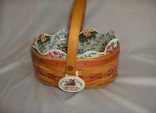 """Longaberger 1999 Mothers Day Basket """"Tea For Two"""" Liner Protector Tie On NICE"""