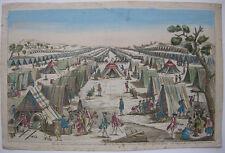 Optical view Guckkastenblatt Preußisches Feldlager Militär Orig Kupferstich 1750