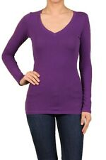 Cotton T-SHIRTS V-NECK Long Sleeve Women/Junior Solid Top S-XL SJ2022