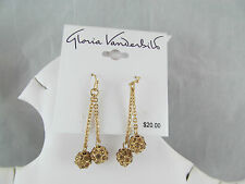 NWT Gloria Vanderbilt GOLD & RHINESTONE ROUND BALL DANGLE EARRINGS, Sparkly