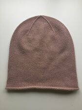 100% Pure Cashmere Light Pink / Rose 'Slouch' Beanie Hat Plain Headwear BNWT
