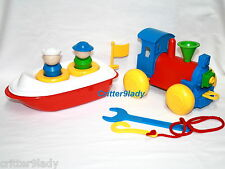 NEW Tupperware Childs Kids TupperCanoe Toy Boat + Build n Play Train