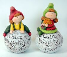Set of 2 Welcome Figure Ornaments Boy and Girl on Welcome Stone Garden Deco