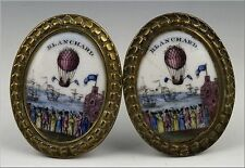 Historical 18th C Jean Pierre Blanchard Hot Air Balloon Bilston Enamel Tiebacks