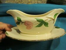 """Franciscan Earthenware Desert Rose Gravy Boat attached underplate 8.5"""" WIN"""