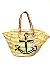 Straw Shopping French Market Basket Beach Bag Large Moroccan Tote Woven Anchor