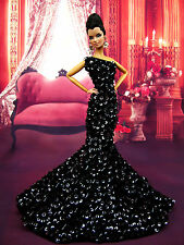 Eaki Handmade Sequin Evening Silkstone Barbie Fashion Royalty Dress Outfit Black