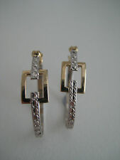 9ct white gold diamond cut with yellow gold rectangular link oval hoop earrings