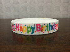 1m Happy Birthday Multi Coloured 22mm Grosgrain Ribbon, Cake, Craft