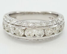 2 ct 18K White Gold Round Brilliant Cut Diamond Fashion Ring / Band 6.5 mm