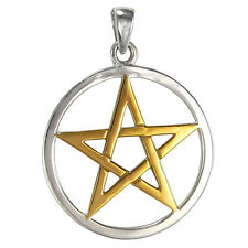 Solid Sterling Silver Pentacle Pendant with Gold Accents Wicca Pagan Jewelry