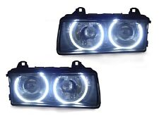 DEPO BMW E36 UHP WHITE LED ANGEL EYES PROJECTOR BLACK HOUSING ZKW HEADLIGHTS