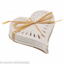 Set of 4 Cabana White Vintage Style Love Heart Ceramic Coasters  Fretwork Design