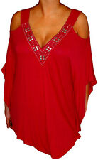 YC3 FUNFASH APPLE RED ANGEL SLEEVES TOP SHIRT BLOUSE CLOTHING Plus Size 2X 22 24