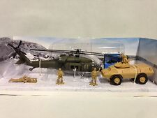 MILITARY MISSION PLAY SET,1:60 UH-60 BACK HAWK HELICOPTER ARMORED,SOLD, NEW RAY