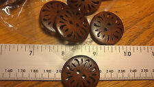 Job Lot 25 Big  Dark Wood Fancy Cut Out Round Buttons 2 Holes 30mm Aran Coat