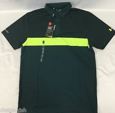 Under Armour MEN'S Athletic Golf Polo Loose HeatGear ColdBlack Dark Green Size S
