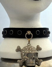 DOG COLLAR NECK BAND SKULL STUDS LEATHER goth choker punk fetish emo studded oi