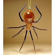 Blown Glass Figurine Art Insect Amber and Black Hanging SPIDER Ornament