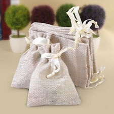10x Wedding Gift Favor Jewelry Small Burlap Linen Jute Sack Pouch Bag Drawstring