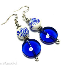 925 Sterling Silver Hook Drop Dangle Earrings Jewelry Pierced Blue Glass