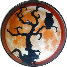 Halloween Crystal Dome Button LgSz  Owl in Tree w Full Moon  HW 45 FREE US SHIP