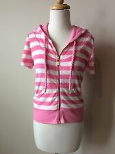 KRITIK Short Sleeve Pink White Striped Hoodie Jacket Small