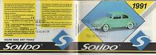 MINI CATALOGUE SOLIDO 1991 PRESTIGE CUSTOM AGE D'OR SIXTIES MILITAIRES POMPIERS