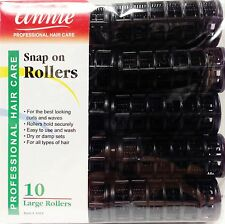 """ANNIE SNAP ON ROLLERS 10 LARGE ROLLERS 7/8"""" NO PINS OR CLIPS NEEDED BLACK"""