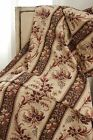Antique French madder brown fabric c1840 curtain panel linen cotton blend old