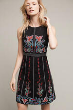 ANTHROPOLOGIE - MAEVE - CHENNAI Floral Embroidery Black Dress 14 XL $228 NEW