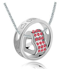 New Red Rhinestones Silver Plated Love Heart Round Charm Pendant Necklace
