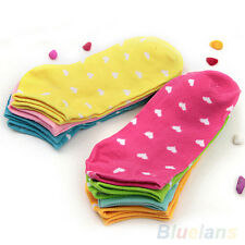 5 Pairs New  Womens Sports Casual Cute Heart Ankle High Low Cut Cotton Socks
