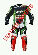 KAWASAKI MotoGp MOTORBIKE COMPLETE LEATHER  SUIT - CE APPROVED FULL PROTECTION