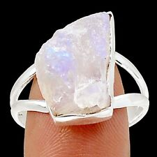 Rainbow Moonstone Rough 925 Sterling Silver Ring Jewelry s.10.5 SR203401