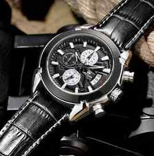 MEGIR Chronograph Casual Watch Quartz Military Sport Watch Genuine Leather