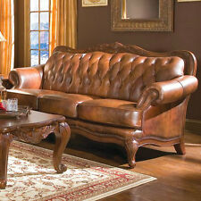 Formal Leather Sofa & 2 Chairs 3Pc Traditional Luxury Living Room Sofas Couch
