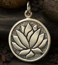 Lotus Flower Charm New 925 Sterling Silver Etched Pendant Namaste Yoga Gift