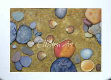 Original Yorkshire Whitby beach sea shells sand stones pebbles gouache Painting