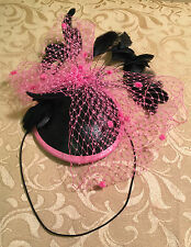 VEX LATEX BLACK & PINK FEATHER NETTING FASCINATOR HAT HEADPIECE FETISH BURLESQUE