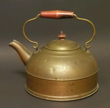 Antique Vintage Revere Ware Brass & Copper Tea Pot - Wooden Handle Rome N.Y.