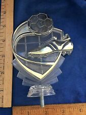 Soccer Shoe and Ball Clear, Frosted and Gold Plexiglass Trophy Topper/Placque