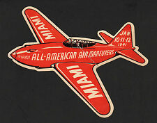 "OPC 1941 All American Air Maneuvers Miami 6 1/4"" Label Faulty Tape Repair No Gum"