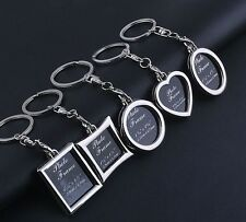 Your Memory Insert Photo Picture Frame Keyring Keychain Split Rings Heart Round