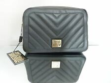 AUTHENTIC BIBA LARGE VICKS QUILTED BLACK LEATHER COSMETIC BAG BNWT RRP £79.00